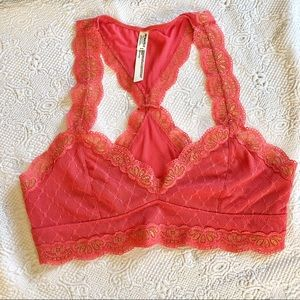 Free People Intimately coral and gold bralette